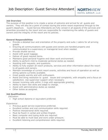 Job Description Guest Service Attendant