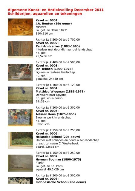 Download Schilderijen Aquarellen En Tekeningen Catalogus Pdf