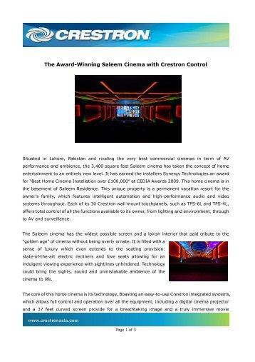 The Award-Winning Saleem Cinema with Crestron ... - Crestron Asia
