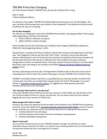 DD Form 2876, TRICARE Prime Enrollment Application and PCM ...