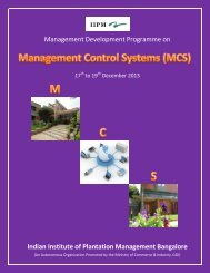Programme Brochure - Indian Institute of Plantation Management