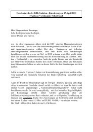 Haushaltsrede - Bürger für Hallenberg