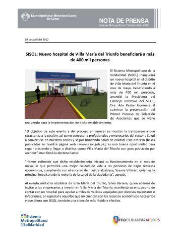 SISOL: Nuevo hospital de Villa María del Triunfo beneficiará a más ...