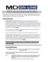 KENTUCKY MEDICAID EDI CONTRACT ... - MD On-Line