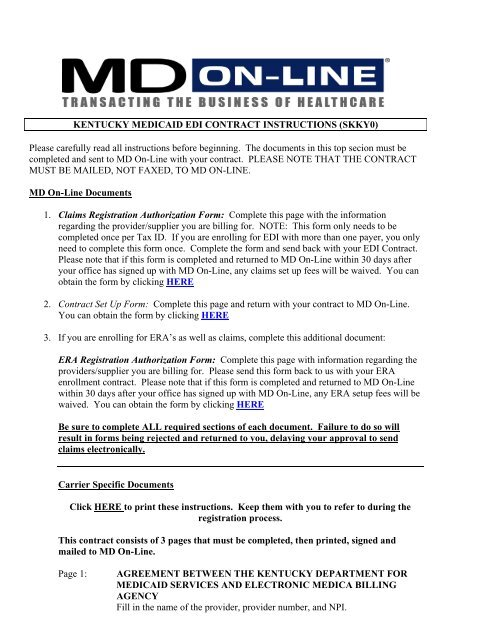 Kentucky Medicaid Edi Contract Md On Line