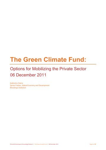 The Green Climate Fund: - CDKN Global