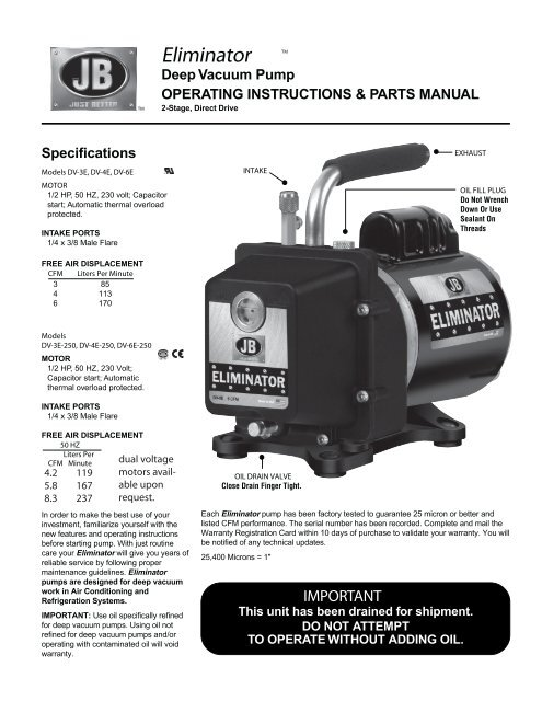 Eliminator Deep Vacuum Pump - JB Industries, Inc