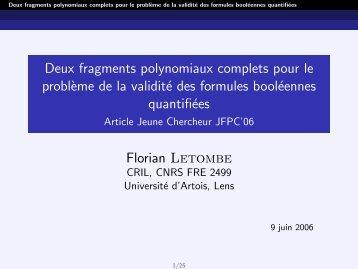 Deux fragments polynomiaux complets pour le problème de la ...