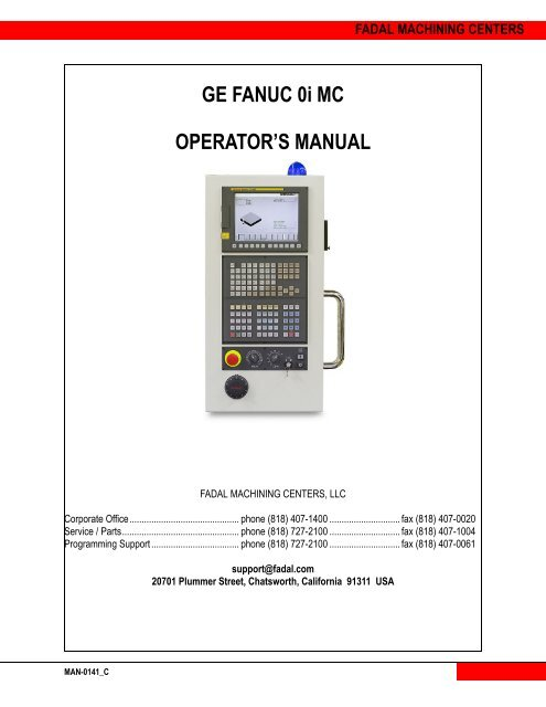 GE FANUC 0i MC OPERATOR'S MANUAL - Compumachine