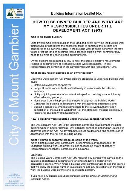 Building Information Leaflet 4 - Owner Builder - City of Mount Gambier