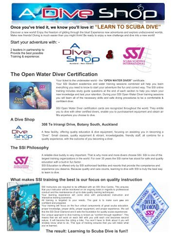 Open Water Dive Course (PDF)