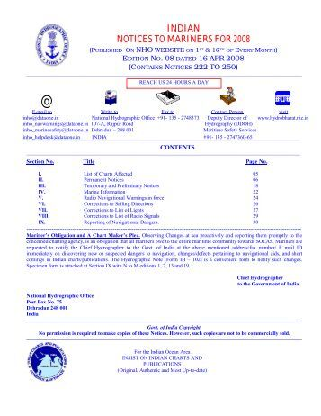 Edition 08 of 2008. - Indian Naval Hydrographic Department