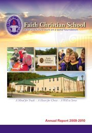 Annual Report 2009-2010 - Faith Christian School