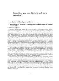 Propositions pour une théorie formelle de la subjectivité - Admiroutes