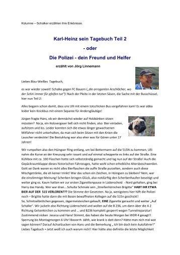Karl Heinz sein Tagebuch Teil 2 - Blau-Weiß-Hönnetal