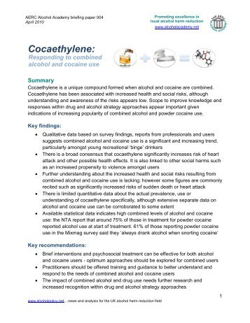 Cocaethylene – responding to combined alcohol ... - Alcohol Policy UK