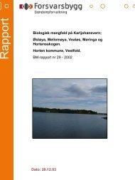 Rapport biologisk mangfold Karljohansvern - Forsvarsbygg