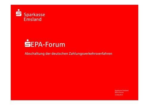 SEPA Lastschriften Sparkasse Emsland