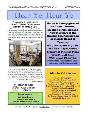 SEPTEMBER 2012 E-Newsletter - Hearing Loss Association of Florida