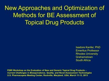New Approaches and Optimization of Methods for BE ... - PQRI