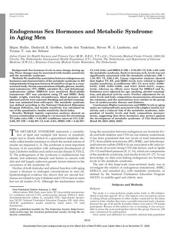 Endogenous Sex Hormones and Metabolic Syndrome in Aging Men