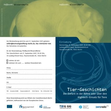 Tier-Geschichten - Technologie Stiftung Brandenburg