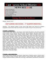 3 quarter honor roll - East Aurora School District #131