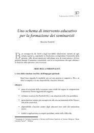 Uno schema di intervento educativo per la formazione dei seminaristi