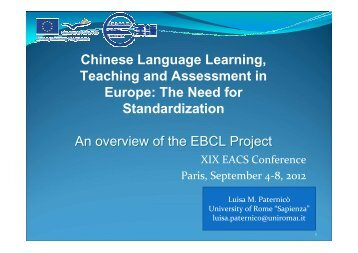 Chinese Language Learning, Teaching and ... - EBCL - Eu.com