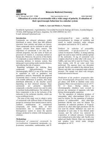 obtención de una serie de carotenoides de un amplio rango