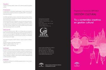 GESTIÓN CULTURAL Tic y contenidos creativos en gestión cultural