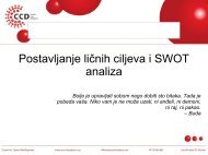 Postavljanje ličnih ciljeva i SWOT analiza - Razvoj karijere