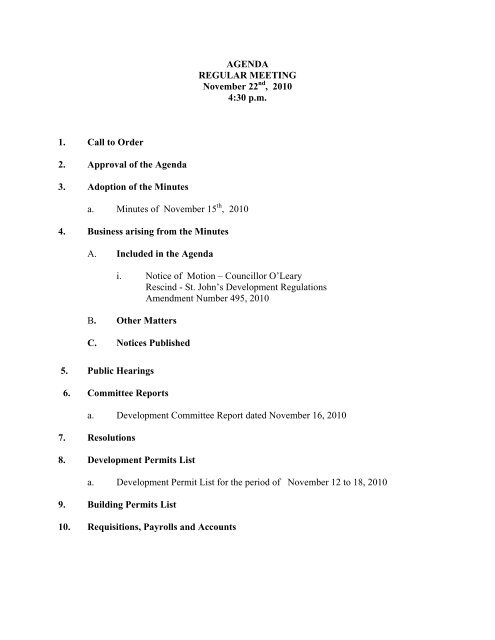 Council Agenda Monday, November 22, 2010 - City of St. John's