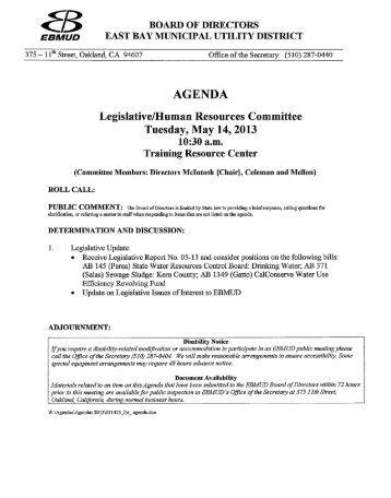 Staff Reports - East Bay Municipal Utility District