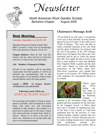 North American Rock Garden Society - Berkshire Chapter