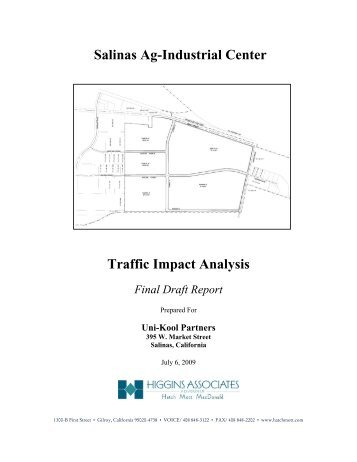 Salinas Ag-Industrial Center Traffic Impact Analysis - City of Salinas