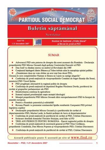 """Newsletter decembrie - Institutul Social Democrat """"Ovidiu Sincai"""""""