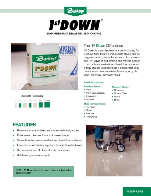 1st Down Product Literature - Buckeye International, Inc