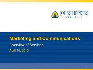 Marketing and Communications - The Johns Hopkins Institute for ...