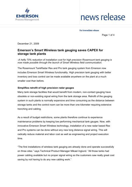 Emerson's Smart Wireless tank gauging saves CAPEX for