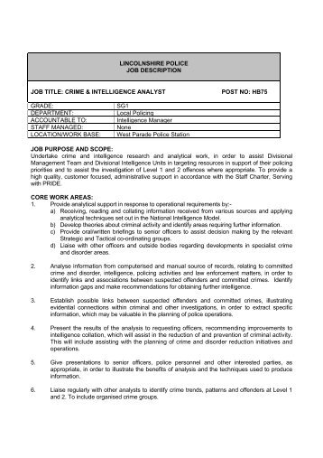 Disclosure Officer  Job DescriptionPdf  Lincolnshire Police