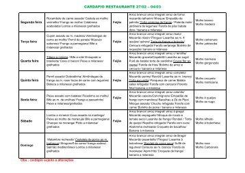 CARDAPIO RESTAURANTE 27/02 – 04/03 - Tozetto