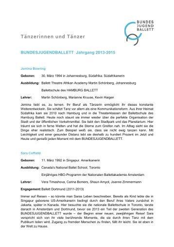 Biografien der Tänzerinnen und Tänzer - Bundesjugendballett
