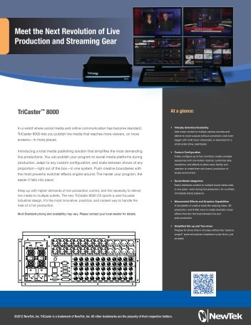 "TriCaster 855 NAB ""One Sheet"" - Omega Broadcast Group"