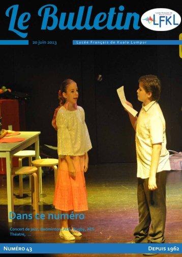 Bulletin du 20/06/13 - Lycée Français Kuala Lumpur