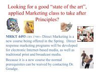 applied Marketing class to take after Principles? - UCO College of ...