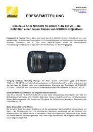 PRESSEMITTEILUNG Das neue AF-S NIKKOR 16-35mm 1 ... - Nikon