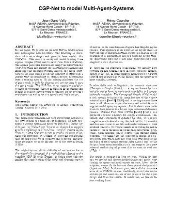 CGP-Net to model Multi-Agent-Systems - LIM - Université de la ...