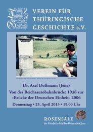 Dr. Axel Doßmann (Jena) - Verein für Thüringische Geschichte e.V.