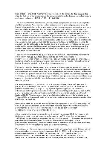 Lei 8/2001, de 2 de agosto, de protección da calidade das augas ...